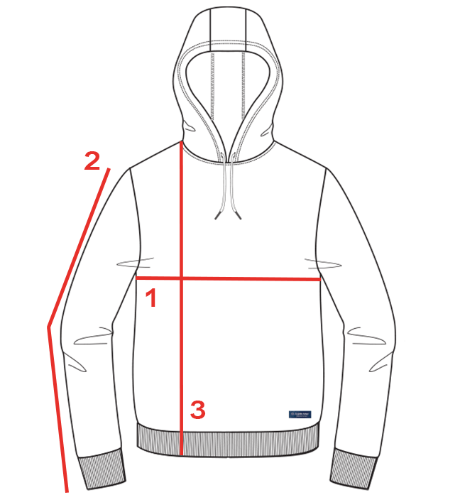 CROQUIS GUIDE TAILLE SWEAT CAPUCHE HOMME