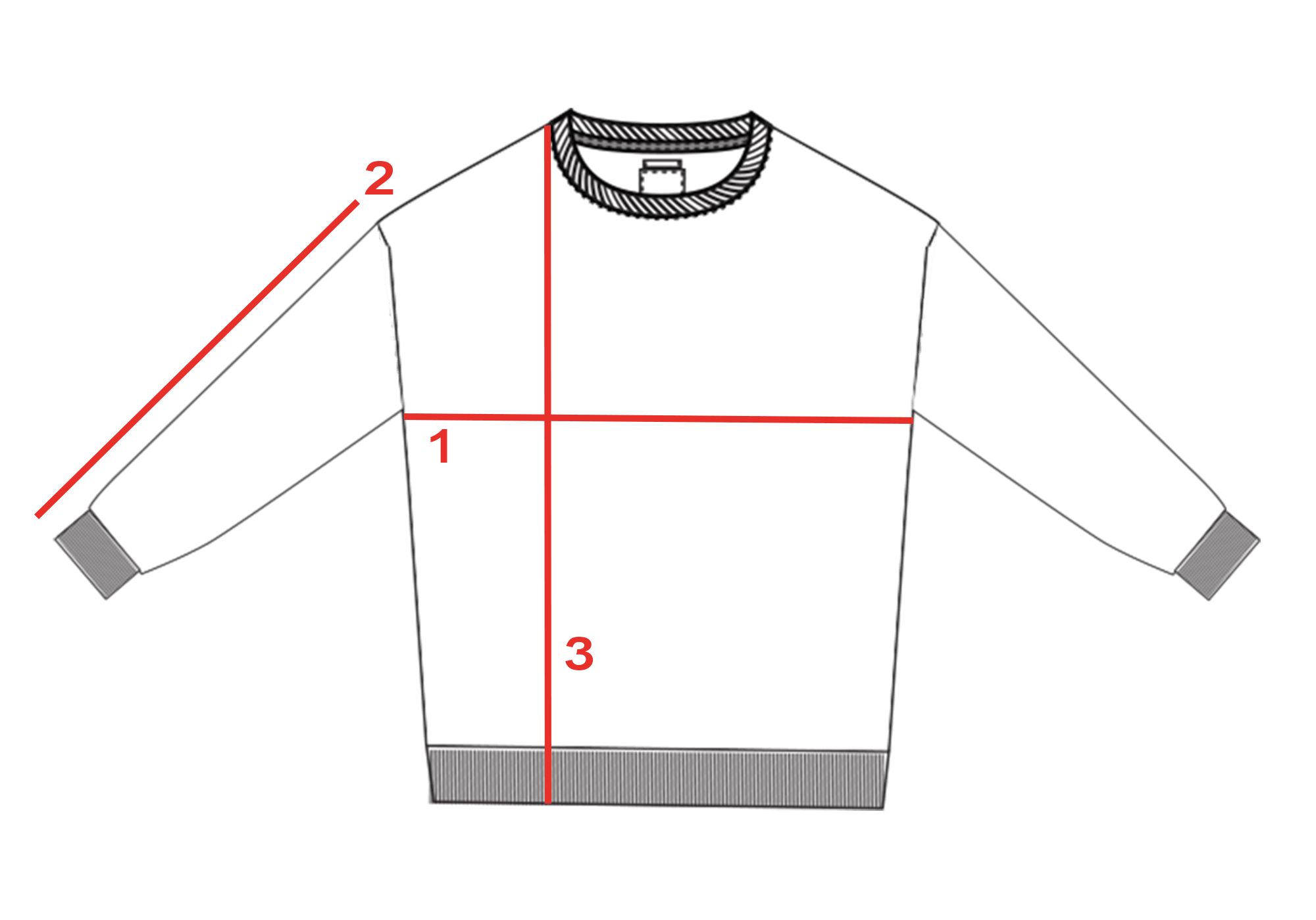 CROQUIS GUIDE TAILLE SWEAT LOOSE HOMME