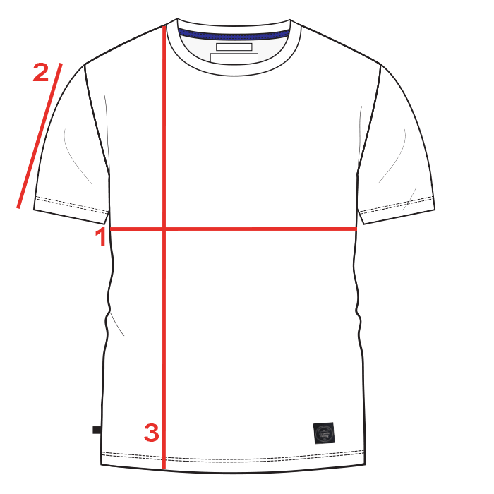CROQUIS GUIDE TAILLE TEE-SHIRT MANCHES COURTES