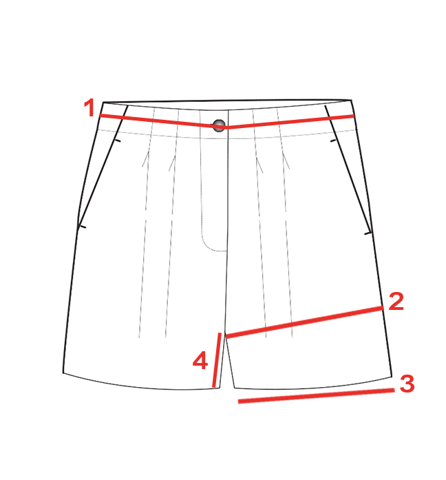 CROQUIS GUIDE TAILLES SHORT LOOSE FEMME