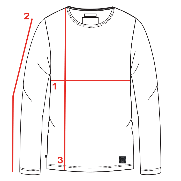 CROQUIS GUIDE TAILLES TEE-SHIRT MANCHES LONGUES